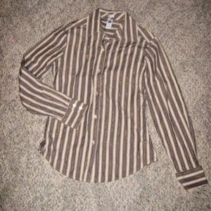 GAP Tan Brown Metallic Gold Stripe Button Shirt S
